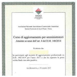 Certificazione ANACI aggiornamento D.M. 140/2014 anno 2017