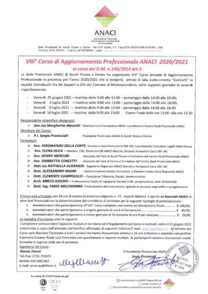 thumbnail of Locandina, programma e regolamento VIII°Corso Aggiornamento 2020-2021 (1)