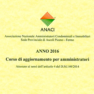 Certificazione ANACI aggiornamento D.M. 140/2014 anno 2016