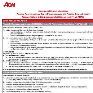 ANACI Modulo di Denuncia Sinistro AON SpA