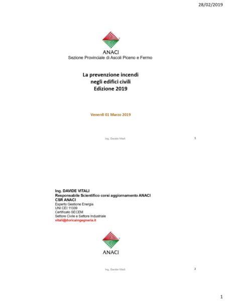 thumbnail of Dispensa dell'Ing. Davide Vitali-Prevenzione incendi in edifici civili -Ed.2019