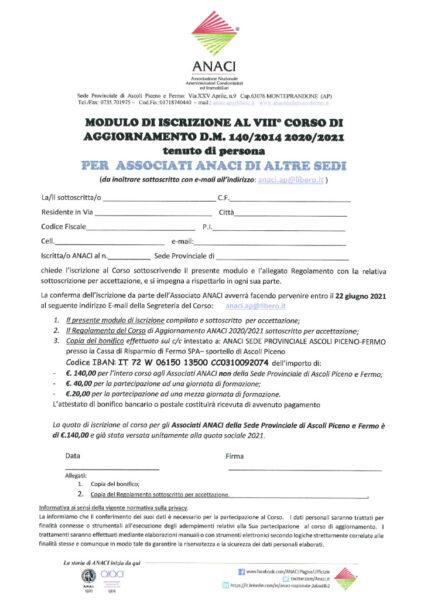 thumbnail of Modulo iscrizione per Associati di altre Sedi ANACI